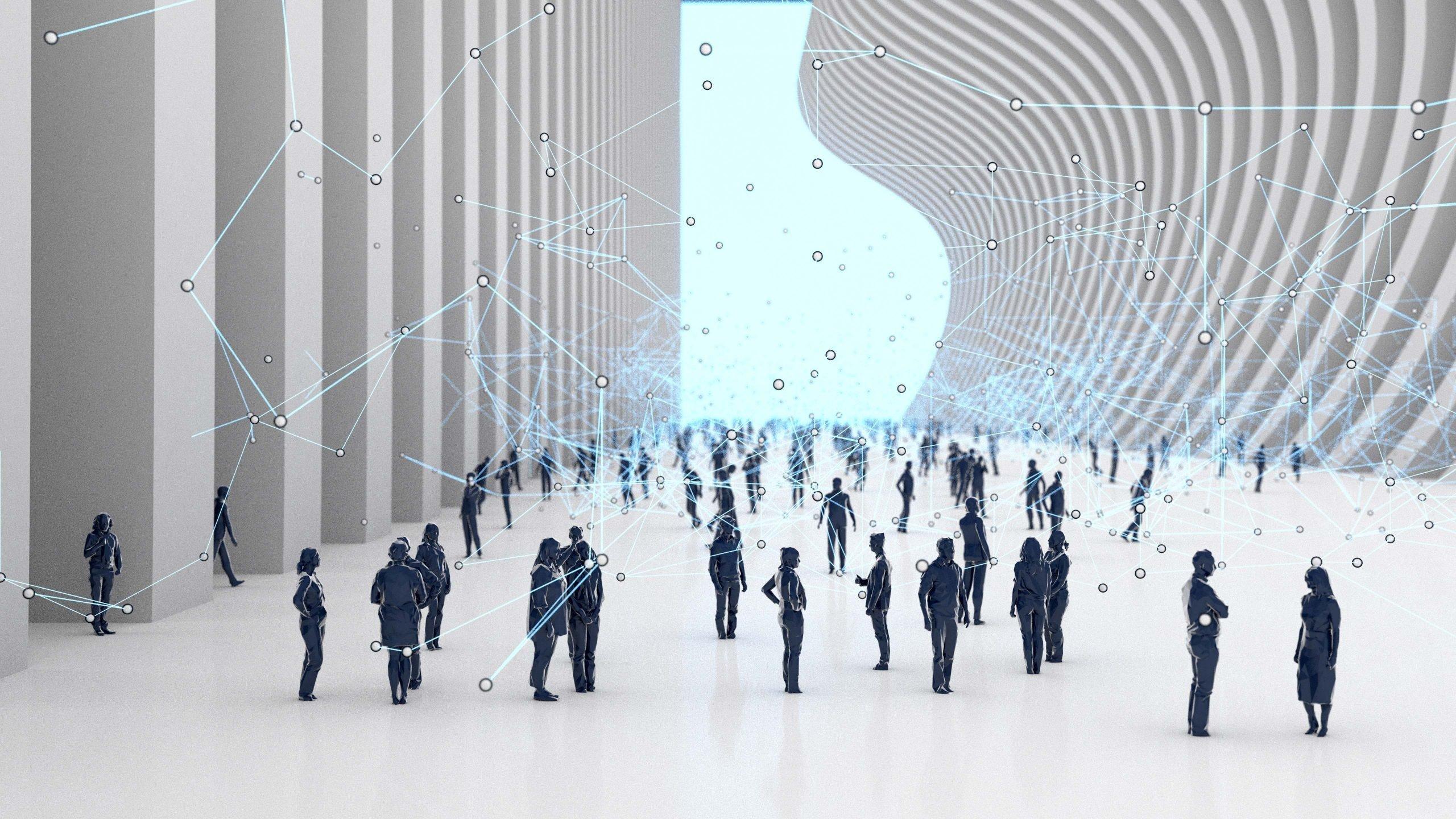 People in a futuristic building